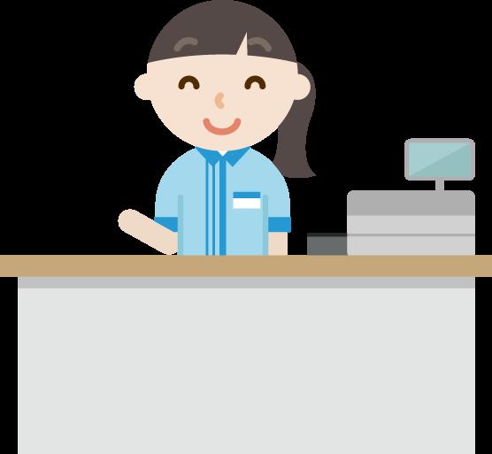 コンビニで働く笑顔の若い女性店員のイラスト Illaletイラレット