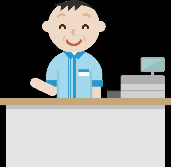 コンビニで働く笑顔の中年の男性店員のイラスト
