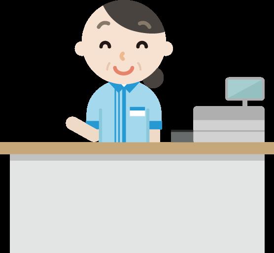 コンビニで働く笑顔の中年の女性店員のイラスト