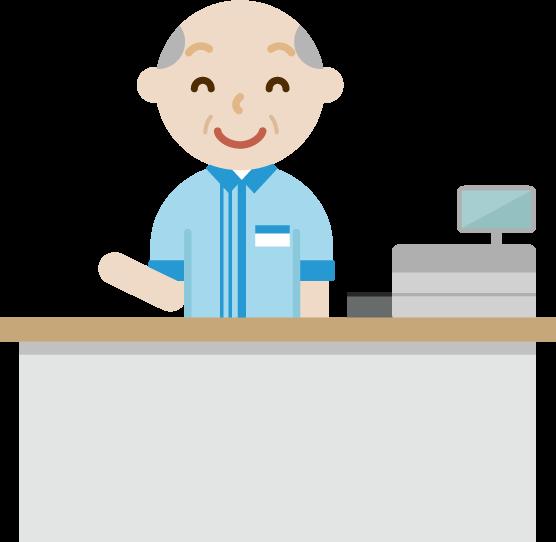 コンビニで働く笑顔の高齢者の男性店員のイラスト