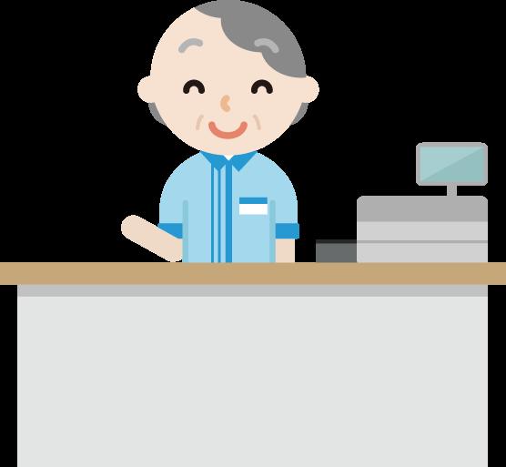 コンビニで働く笑顔の高齢者の女性店員のイラスト
