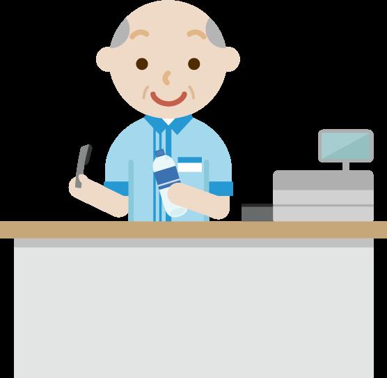 コンビニで働く高齢者の男性店員のイラスト