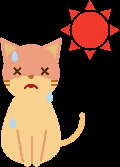 夏バテする猫のイラスト2
