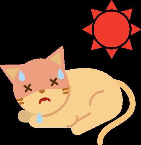 夏バテする猫のイラスト(伏せ)2