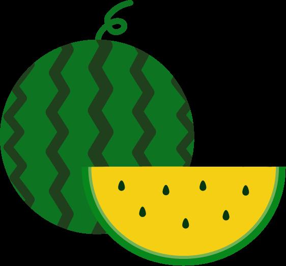 黄色いスイカのイラスト(丸ごと・カット)