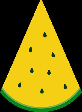 黄色いスイカのイラスト(三角カット)