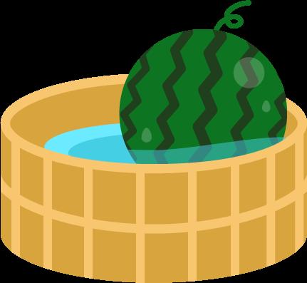 水の張った桶に入ったスイカのイラスト