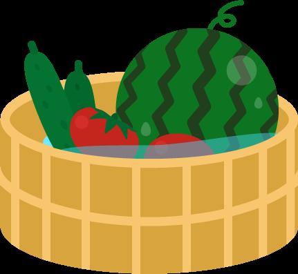 水の張った桶に入ったスイカとキュウリとトマトのイラスト
