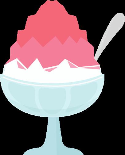 かき氷のイラスト(イチゴ)
