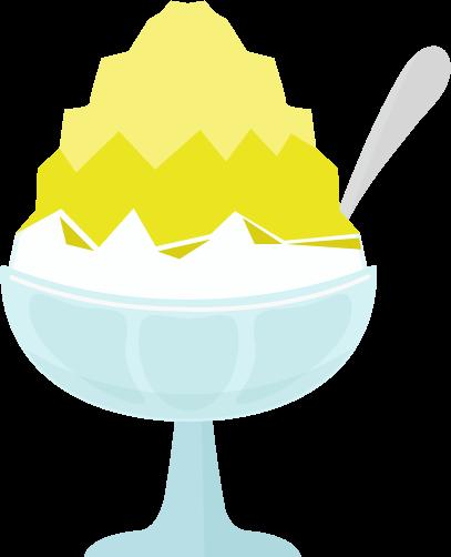 かき氷のイラスト(レモン)