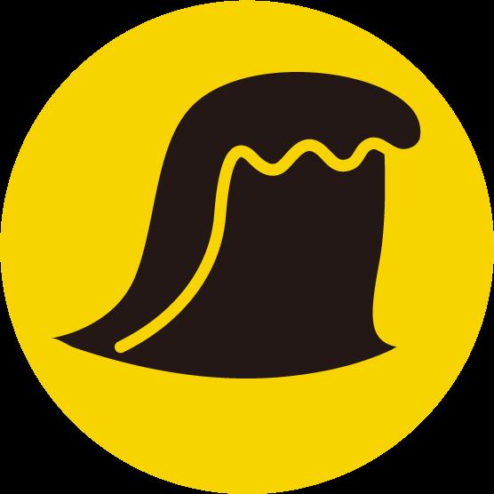 津波のアイコンイラスト(黒黄)