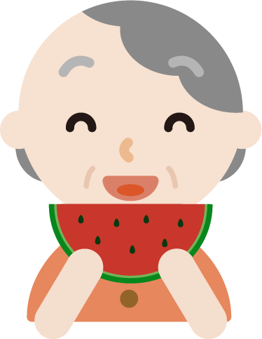 スイカを食べる高齢者の女性のイラスト