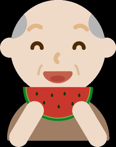 スイカを食べる高齢者の男性のイラスト