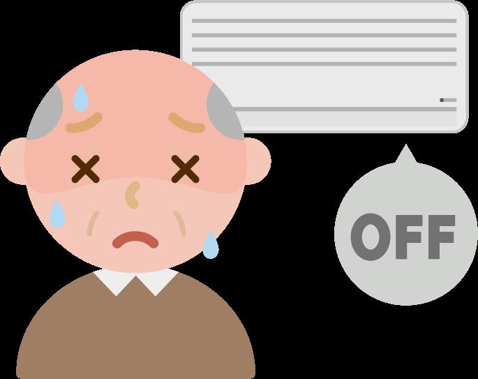 家で熱中症になる高齢者の男性のイラスト