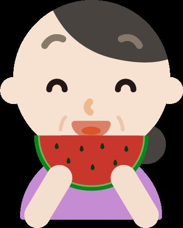 スイカを食べる中年女性のイラスト