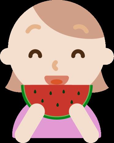 スイカを食べる若い女性のイラスト