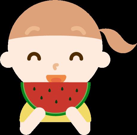 スイカを食べる女の子のイラスト