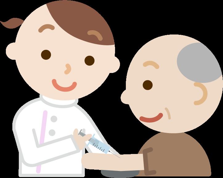 注射を受ける高齢者の男性のイラスト(笑顔)