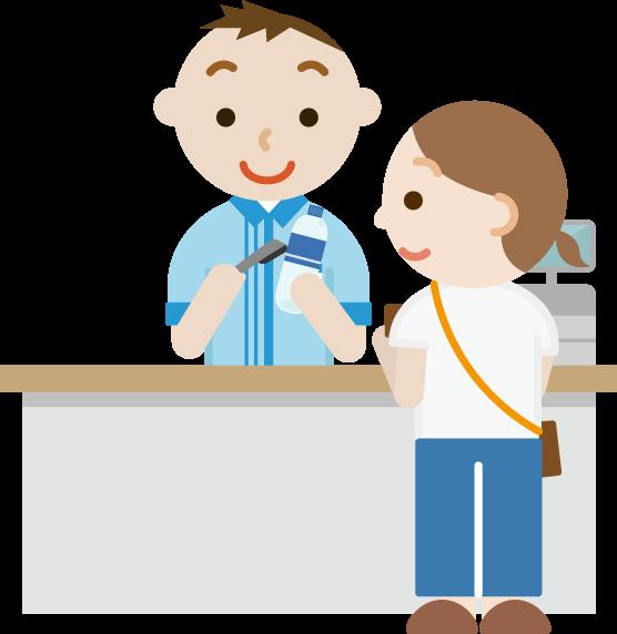 コンビニでお会計をする女性と若い男性の店員のイラスト