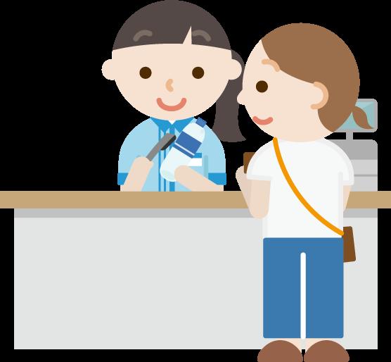 コンビニでお会計をする女性と若い女性の店員のイラスト