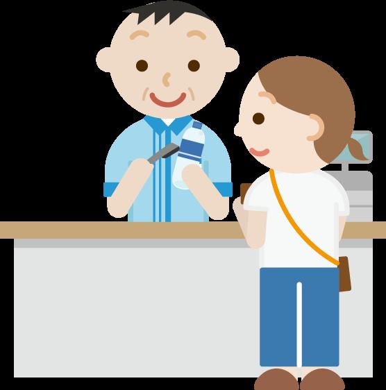 コンビニでお会計をする女性と中年の男性の店員のイラスト