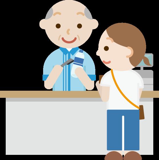 コンビニでお会計をする女性と高齢者の男性の店員のイラスト
