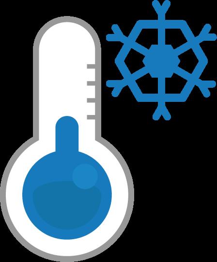 温度計のアイコンイラスト(低温・雪)