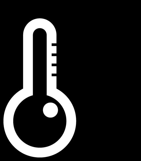 温度計のアイコンイラスト(高温・太陽・白黒)