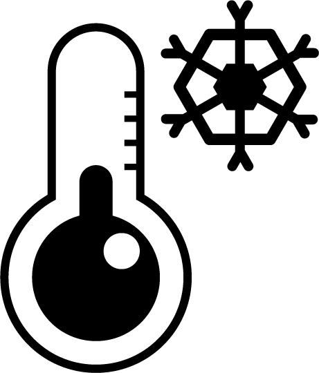 温度計のアイコンイラスト(低温・雪・白黒)