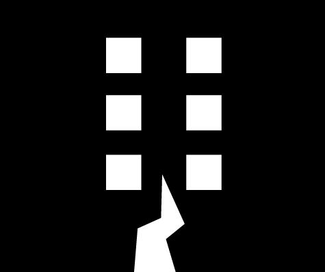 地震アイコンのイラスト(白黒)
