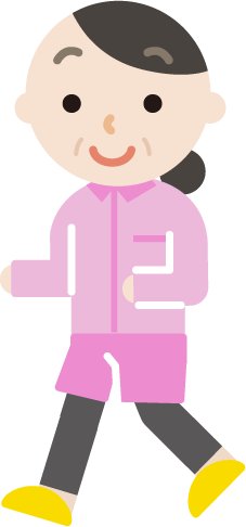 ランニングをする中年の女性のイラスト