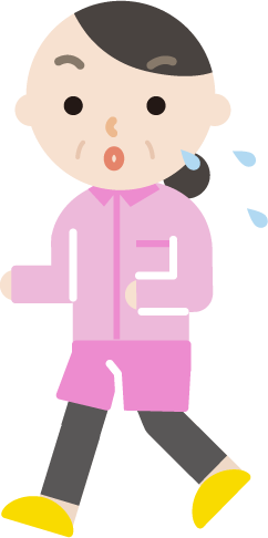 ランニングをする中年の女性のイラスト(汗)