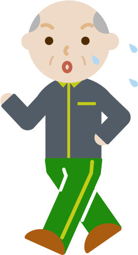 ウォーキングをする高齢者の男性のイラスト(汗)