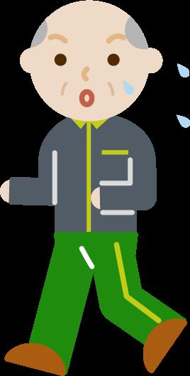ランニングをする高齢者の男性のイラスト(汗)