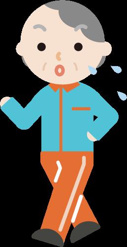 ウォーキングをする高齢者の女性のイラスト(汗)