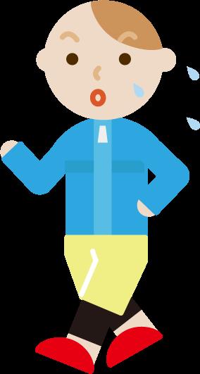 ウォーキングをする若い男性のイラスト(汗)