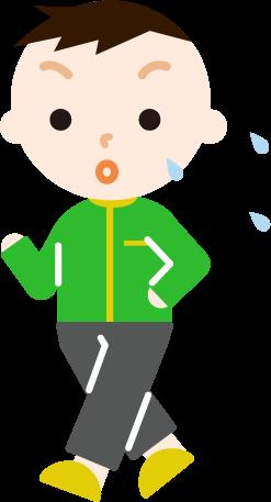 ウォーキングをする男の子のイラスト(汗)
