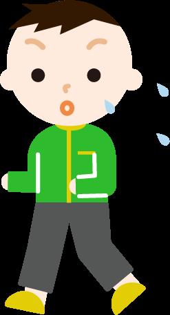 ランニングをする男の子のイラスト(汗)