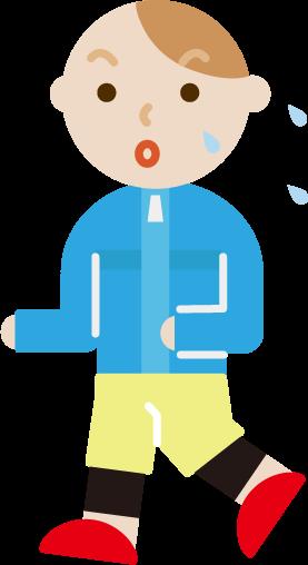 ランニングをする若い男性のイラスト(汗)