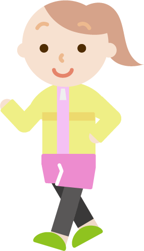 ウォーキングをする若い女性のイラスト
