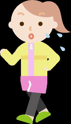 ウォーキングをする若い女性のイラスト(汗)