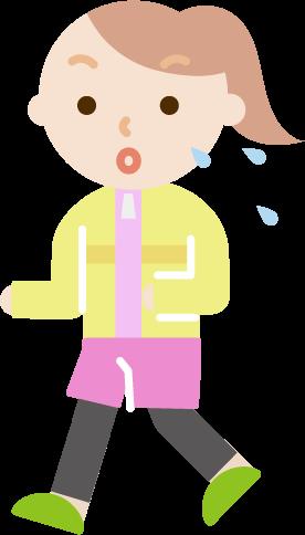 ランニングをする若い女性のイラスト(汗)