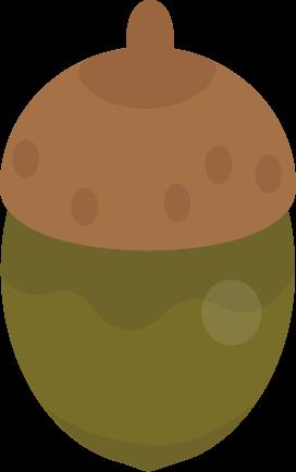 青いドングリのイラスト(帽子・丸)