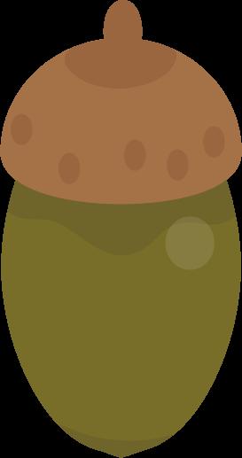 青いドングリのイラスト(帽子・細)