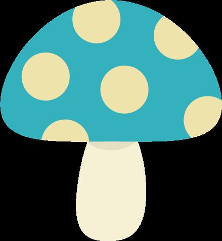 水玉模様のキノコのイラスト(青色)