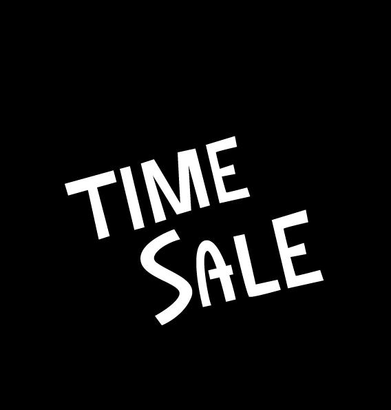 「TIME SALE」のアイコンイラスト(吹き出し・白黒)