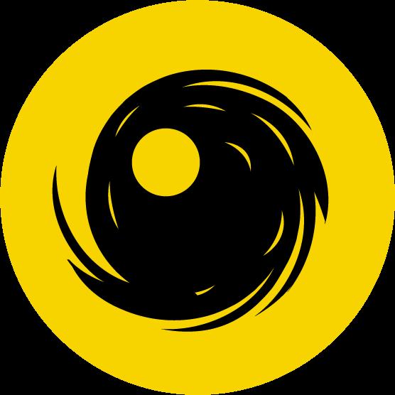 台風注意のアイコンイラスト(黒黄)