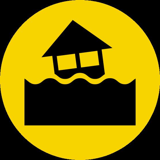 川の氾濫注意のアイコンイラスト(黒黄)