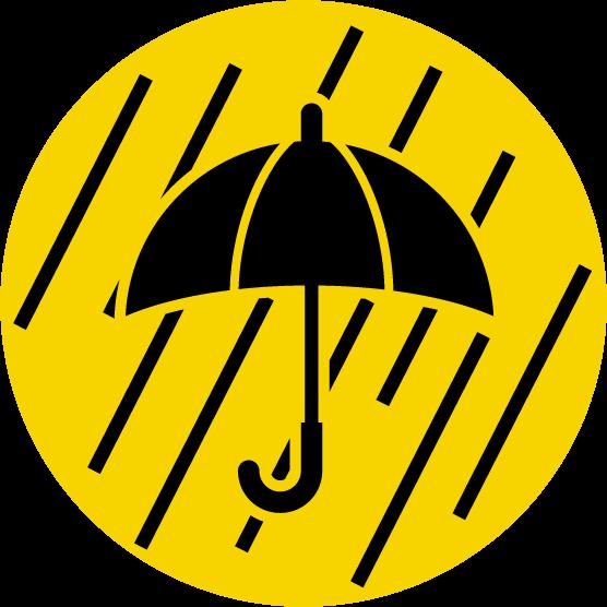 大雨注意のアイコンイラスト黒黄 Illaletイラレット