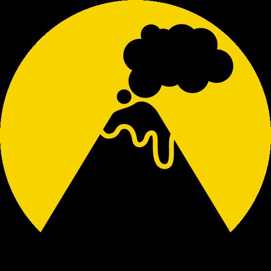 噴火注意のアイコンイラスト(黒黄)